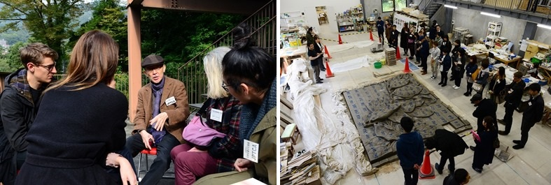 Left: Conversation at lunch time / Right: Atelier tour (in front of a ceramic relief under production)
