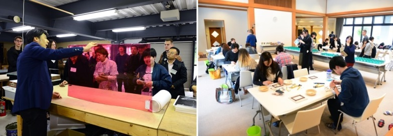 Left: Atelier tour (in front of material of stained glass) / Right: Workshop