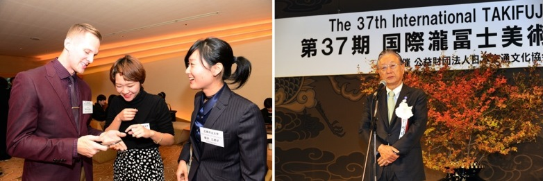 Left: Winners before ceremony opening / Right: Hisao Taki, Director General of our association