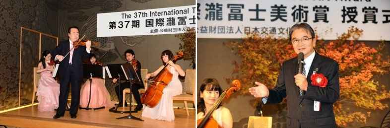 Left: Performance by Mr. Sawa / Right: Mr. Rhohei Miyata, former President and emeritus professor of Tokyo University of the Arts
