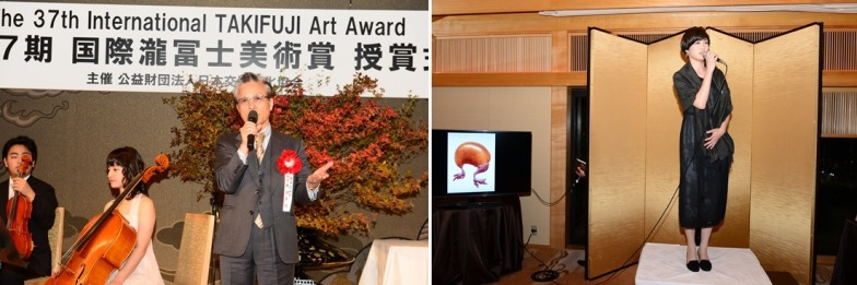 Left: Mr. Eibin Otsu, a western painter and a member of The Japan Art Academy / Right: Ms. Hana Ueda, winner of Grand Prize