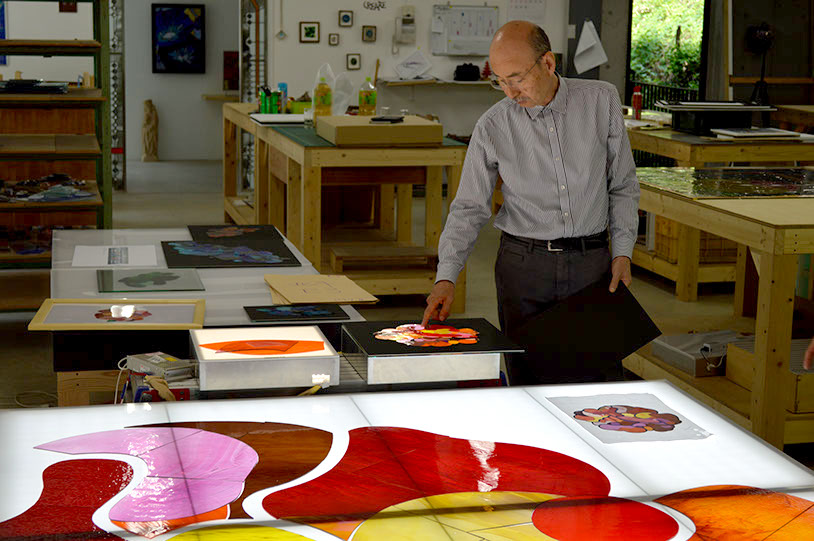 Mr. Igarashi checking stained glass